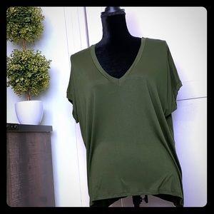 Olive Green V-neck Knit Top, M